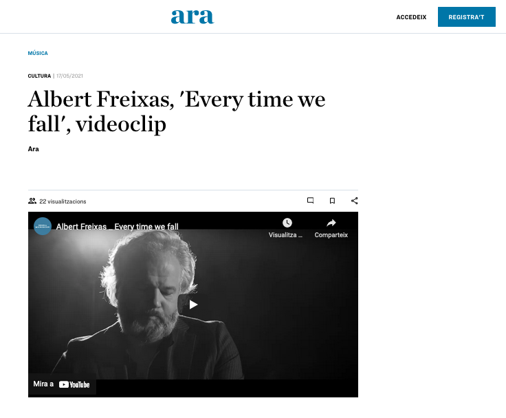 Screenshot of newspaper Ara with the presentation of the videoclip Every Time We Fall by Albert Freixas